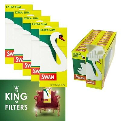 Swan® Extra Slim Filter Tips 5 PACKS x 120 = 600 Pre-Cut Tips Smoking Rolling UK