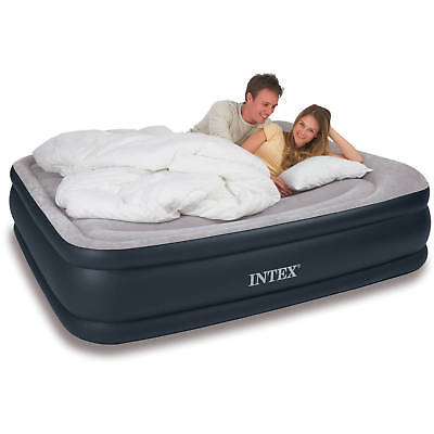 Intex Queen Deluxe Raised Pillow Rest Air Mattress Bed with Built-In Air Pump
