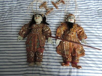 Burmese Indonesia Thailand Male & Female Marionette String Puppets Dolls Ref64