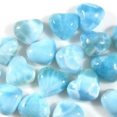 Larimar Lot Of 4 (Four) Genuine Natural Heart 12 X 13Mm Calibrated Cabochon