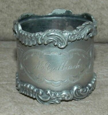 Antique Silverplated Victorian Era Etched Personalized Napkin Ring