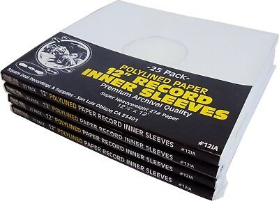 """(100) 12"""" White Paper Plastic Record HEAVYWEIGHT Polylined Inner Sleeves #12IA"""