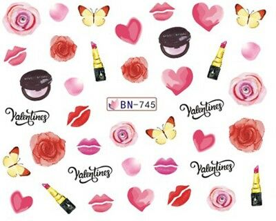 Nail Art Water Decals Stickers Transfers Valentines Hearts Roses (BN745)