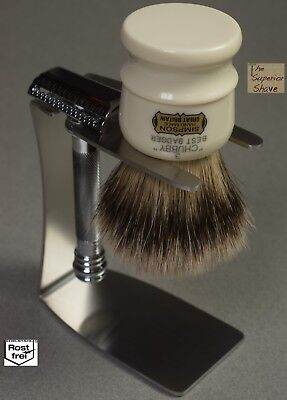 Stainless Steel Stand for Safety Razor + Shaving Brush fits Simpson Chubby 2 & 3