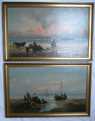 Pair of Relined 19th Century Italian Oil Paintings Sea Framed Signed A VESCOVI