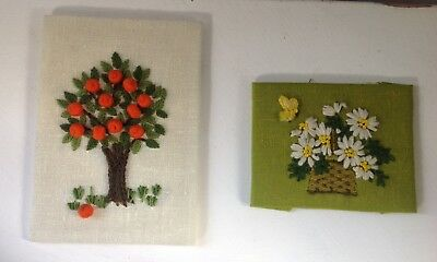 Vintage embroidered unframed pictures lot of 2