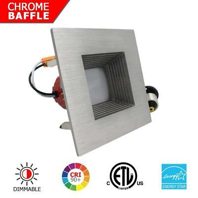 "4"" Inch LED Recessed Light - 9W Dimmable Downlight Trim - Nickel Square Baffle"