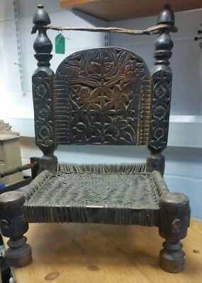 Antique Swat Valley Hand Carved Low Chair Woven Rush Seat Gut Tie At Back