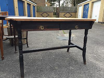 Antique Ebony Desk With Pine Top