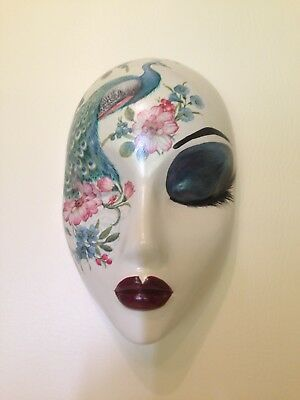 Hand cast wall hanging mask decoupage peacock and floral design