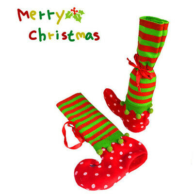 Christmas Wine Bottle Cover Bags Cartoon Elf Socks Candy Gift Pouch Dining Decor