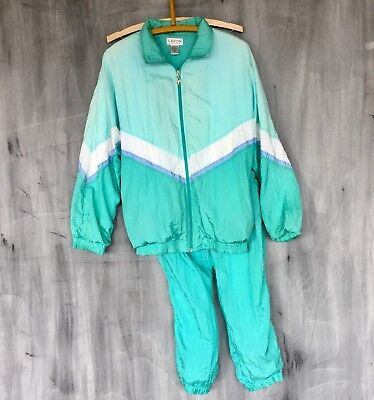 Vtg 80s 90s Medium Lavon Nylon Color Block Windbreaker Track Suit Fairy Kei