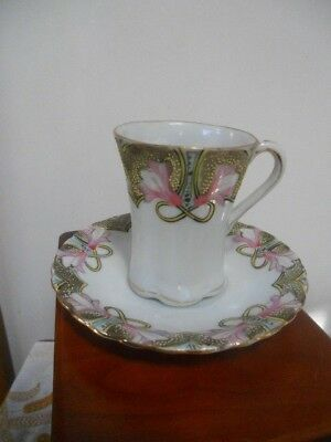 Antique Nippon Hand Painted Pink Blossom Flower Semi Demitasse Cup & Saucer Set