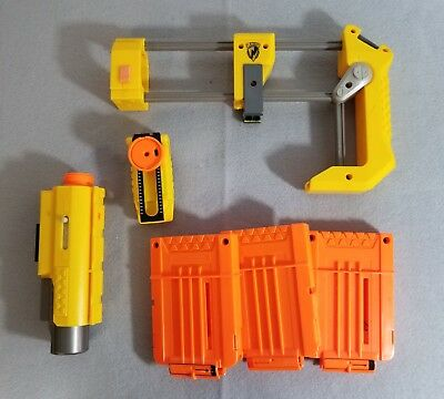 Nerf N-Strike Accessory LOT - Clips, Laser Sight/Light, Iron sight, Shoulder But