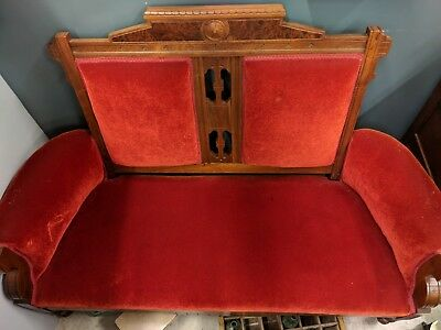 Antique Victorian Red Velvet Sofa Settee Loveseat Couch Carved Wood Vintage