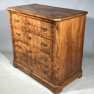Antique French burr walnut chest of drawers small size