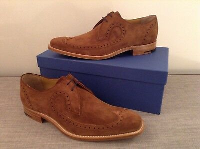Barker Woody Derby Brogue, Ginger Calf Leather Suede, Goodyear Welted Sole, 8.5F