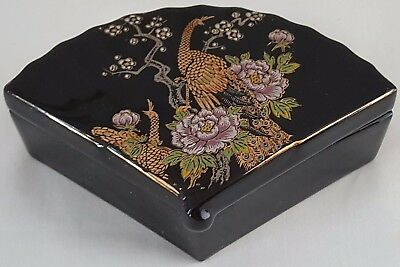 JAPANESE ASIAN BLACK FAN-SHAPED PEACOCK & FLORAL TRINKET BOX with LID