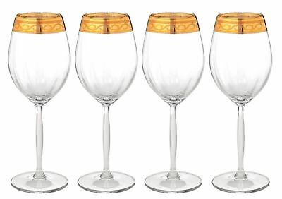 Set of 4 Italian Crystal Wine Water Glasses, 24kt Gold Rimmed Handmade Goblets