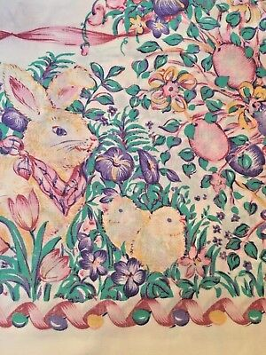 "Easter Bunny Tablecloth Pastel Floral Rabbits White Cotton Vtg Fabric 60"" x 84"""