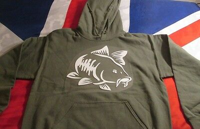 Carp Fish Hoody Sweatshirt MILITARY GREEN .