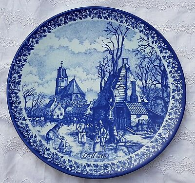"""11.8"""" Vintage 'Winter' Dutch Plate Wall Charger Delft Blue &White Delfts Blauw"""