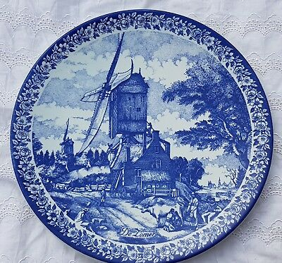"11.8"" Vintage 'Zomer' Dutch Plate Wall Charger Delft Blue &White Delfts Blauw"