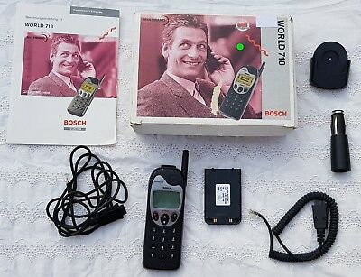 Original Pre-owned BOSCH WORLD 718 Retro Black Handy Mobile Phone with box etc.