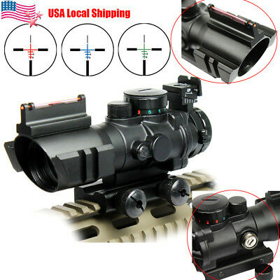 Tri-illuminated 4X32 RGB Prismatic BDC Recticle Rifle Scope &Fiber Optic Sight