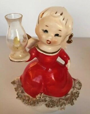 Rare Vintage Christmas Angel Girl In Red Spaghetti Trim Holding Lamp  Figurine