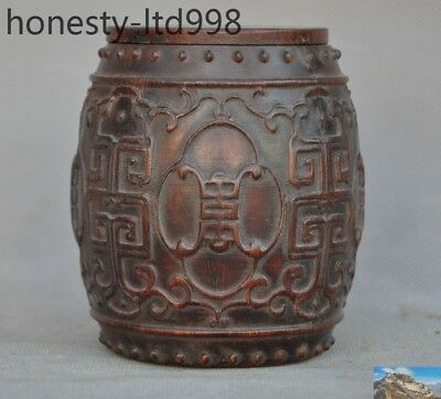 Collect Rare Chinese Natural Old Ox Horn Carved beast Animal Drum Box Boxes