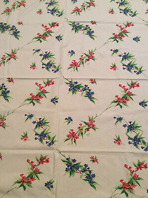 "Vintage Cloth Table Cloth Floral White Blue Green Red 60"" x 63"""
