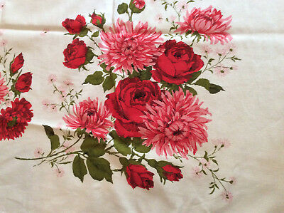 """Vintage Tablecloth Beautiful Red & Pink Flowers Green Leaves 64"""" x 48"""" On White"""