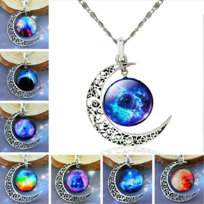 Galactic Glass Cabochon Silver Tone Hollow Moon Crescent Pendant Women Necklace