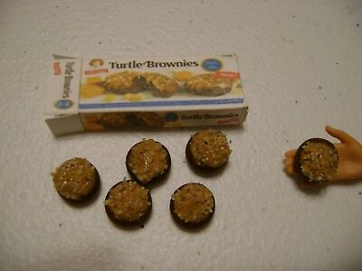 Barbie Dollhouse Food Turtle Brownies Handcrafted with a box   NEW