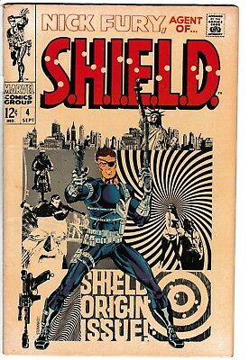 **nick Fury, Agent Of Shield #4**(1968, Marvel)**origin Issue**silver Age**hot**