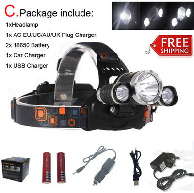 UK 12000LM 3 x XML CREE T6 LED Rechargeable Head Torch Headlamp Light Lamp 18650