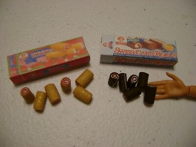 Barbie Dollhouse Food Swiss & Strawberry Cake Rolls Handcrafted and boxes  NEW