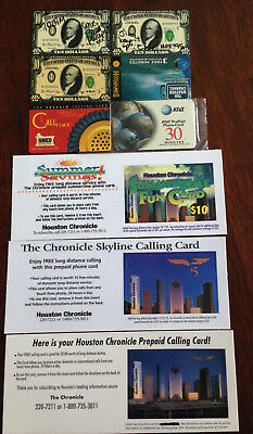 Collectible Prepaid Calling Cards 9 Assorted Cards