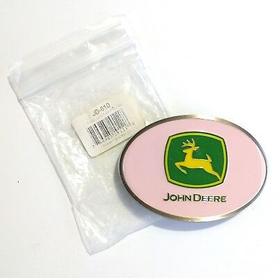 John Deere Pink Belt Buckle Green Yellow Logo Enamel ~ New Old Stock