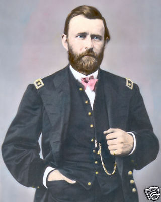 "GENERAL ULYSSES S. GRANT CIVIL WAR 1865 8x10"" HAND COLOR TINTED PHOTOGRAPH"