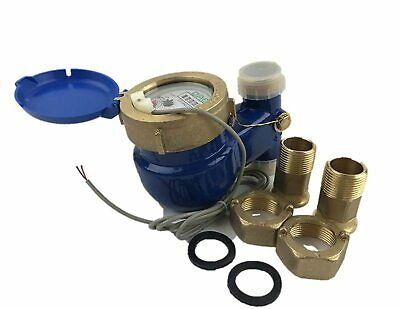 """DAE V-100P 1"""" Vertical Water Meter, Pulse Output, Measuring in Gallon +Couplings"""