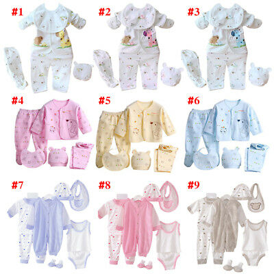 5Pcs Newborn Infant Baby Girl Boy Shirt+Pants+Hat+Bid Outfits Clothes Set 0-3M