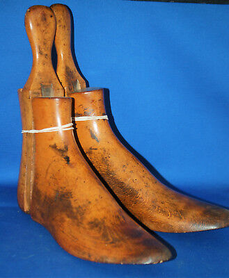 A pair of antique Victorian solid wood three part boot trees, about sz 8 (Eu 42)
