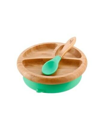 Green Avanchy Bamboo Suction Baby Plate + Spoon