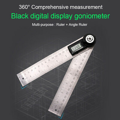 7 inch Electronic Digital Protractor Goniometer Angle Finder Steel Ruler 200 mm