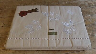 Pair of French Quality Vintage Pure Cotton Embroidered  Sheets 325 cm x 220 cm