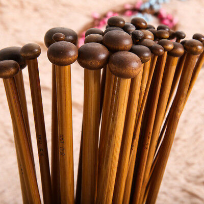 36pcs Bamboo Carbonized Single Pointed Knitting Needles Smooth Crochets 18Sets