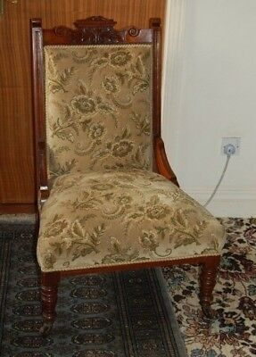 Antique American Walnut Floral Pattern Velvet Upholstered Low Chair
