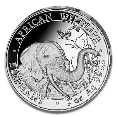 2 oz Somalia Elephant 2018 Silver Coin - African Wildlife - Mint State